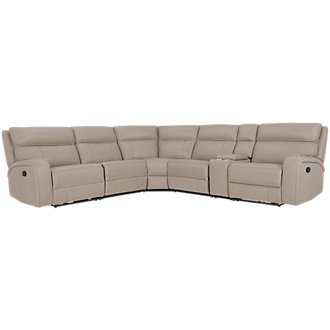 Rhett Taupe Microfiber Small Two-Arm Manually Reclining Sectional