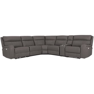 Rhett Gray Microfiber Small Two-Arm Power Reclining Sectional
