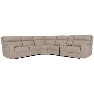 Rhett Taupe Microfiber Small Two-Arm Power Reclining Sectional