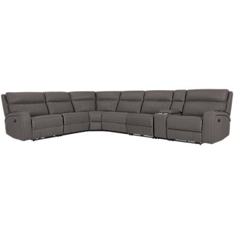 Rhett Gray Microfiber Large Two-Arm Manually Reclining Sectional