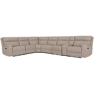 Rhett Taupe Microfiber Large Two-Arm Manually Reclining Sectional
