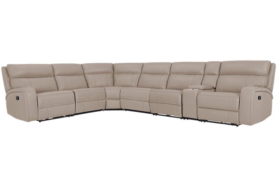 Rhett TAUPE MICRO Large Two-Arm Manually Reclining Sectional