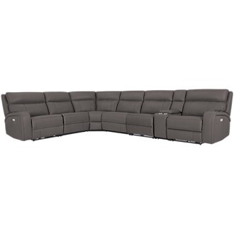 Rhett Gray Microfiber Large Two-Arm Power Reclining Sectional