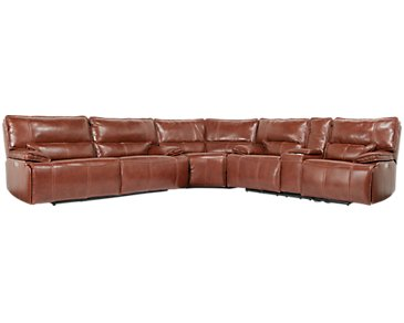 Jesse Medium Brown Leather Two-Arm Power Reclining Sectional