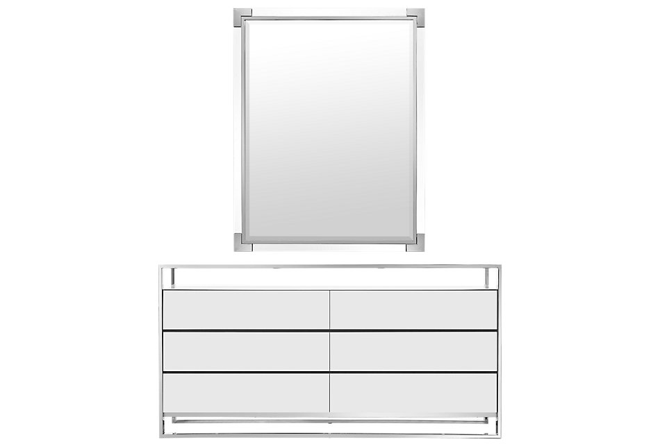 State Street White Dresser & Mirror   Bedroom - Dressers ...