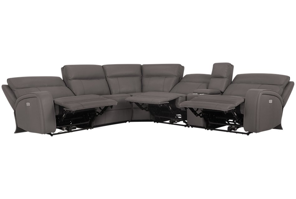 Rhett GRAY MICRO Small Triple Power Reclining Two-Arm Sectional