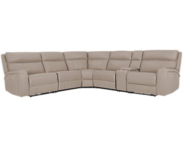 Rhett Taupe Microfiber Small Triple Power Reclining Two-Arm Sectional