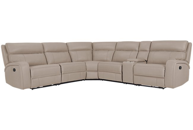 Rhett Taupe Micro Small Triple Manually Reclining Two-Arm Sectional