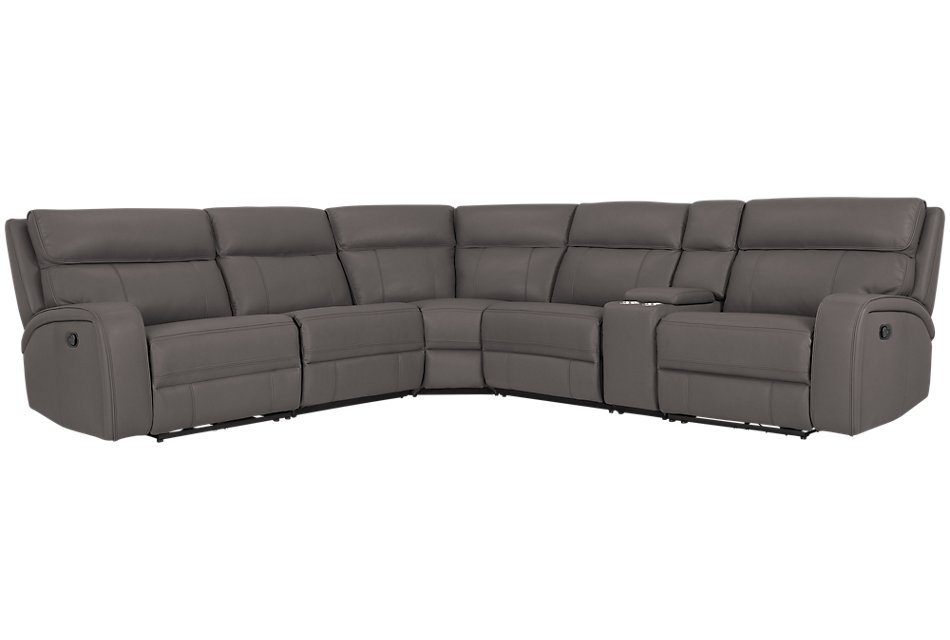 Rhett GRAY MICRO Small Triple Manually Reclining Two-Arm Sectional