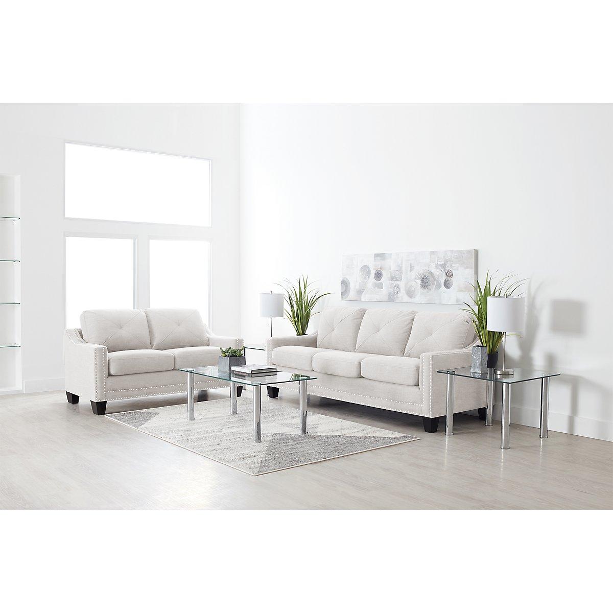City Furniture Malone Beige Microfiber Sofa