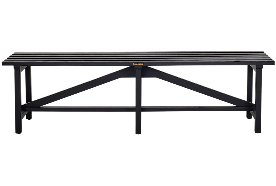 Open Slat Black Bench
