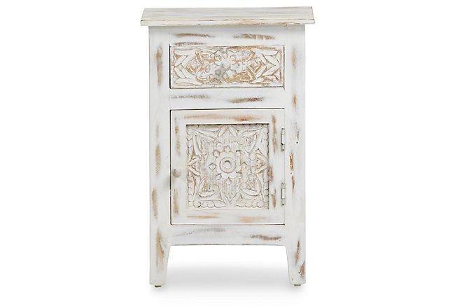 Celine Whitewash Wood Accent Table