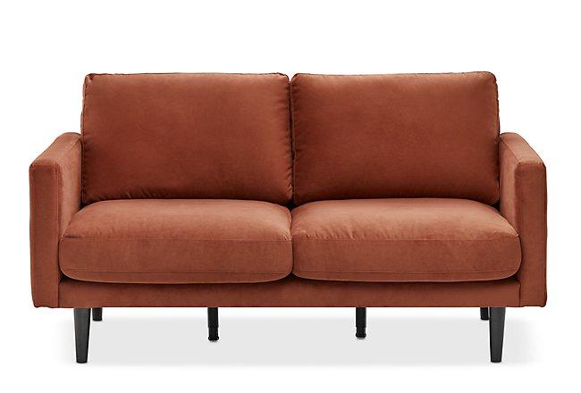 Montecito Orange Fabric Loveseat