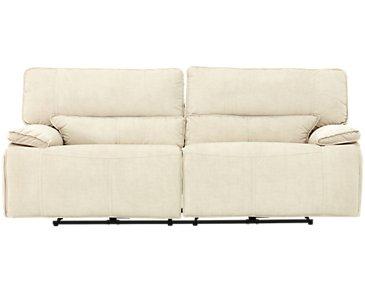 Jesse Light Beige Microfiber Power Reclining Sofa