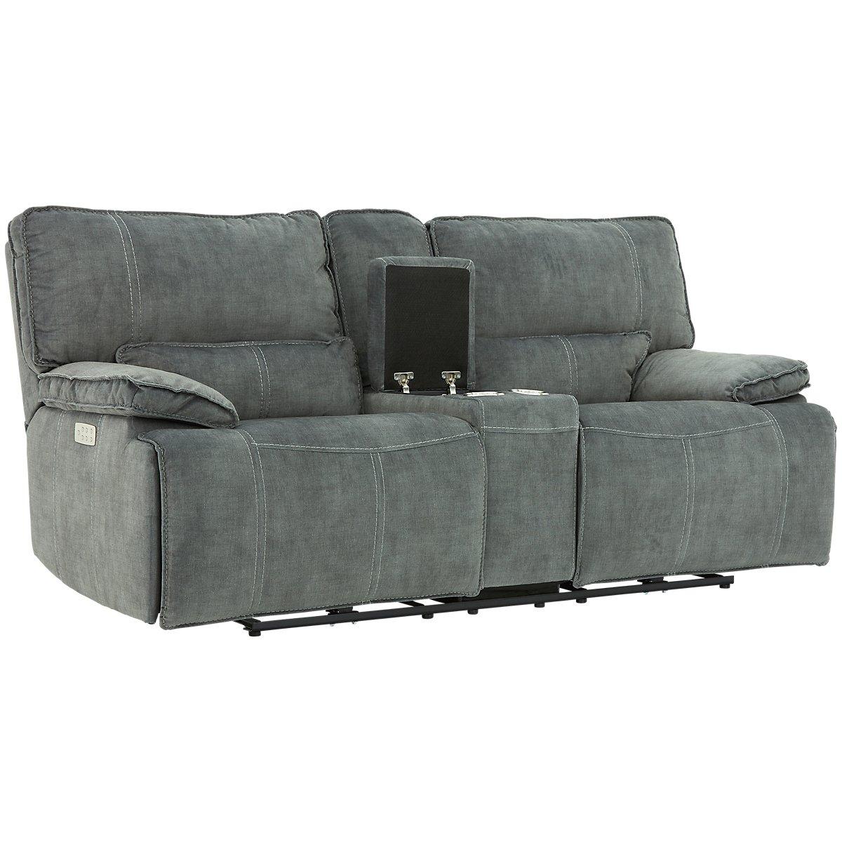 City Furniture Jesse Dark Gray Microfiber Two Arm Power