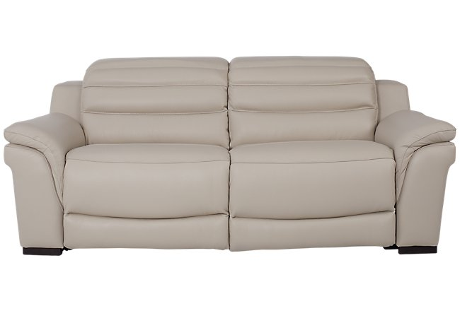 Sentinel Taupe Leather & Vinyl Power Reclining Sofa | Living Room ...