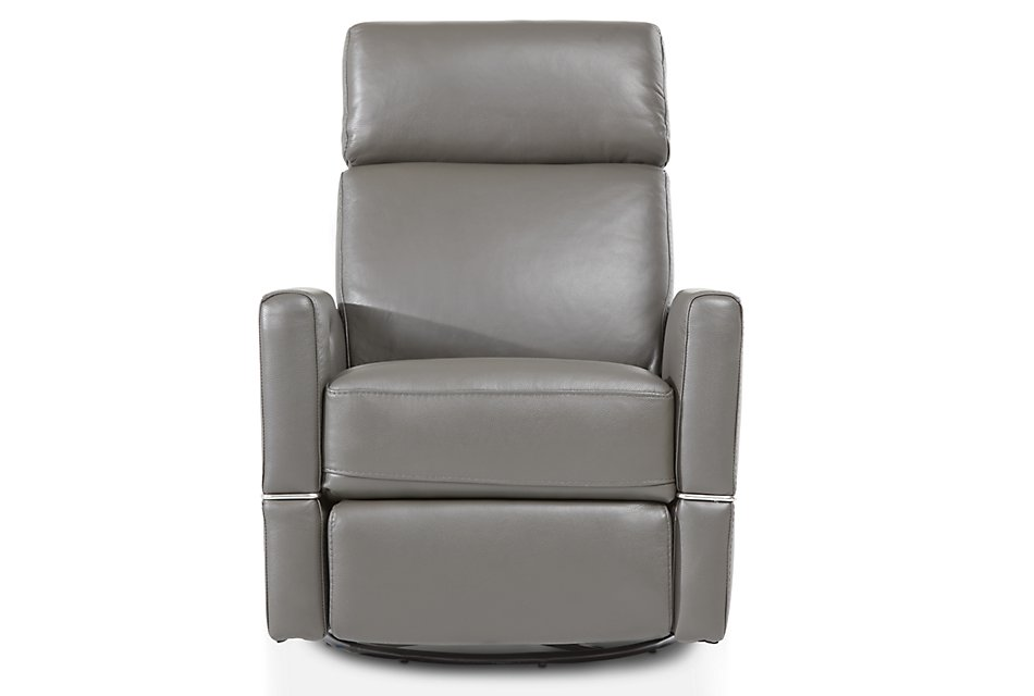 Cato GRAY LEATHER Power Swivel Glider Recliner
