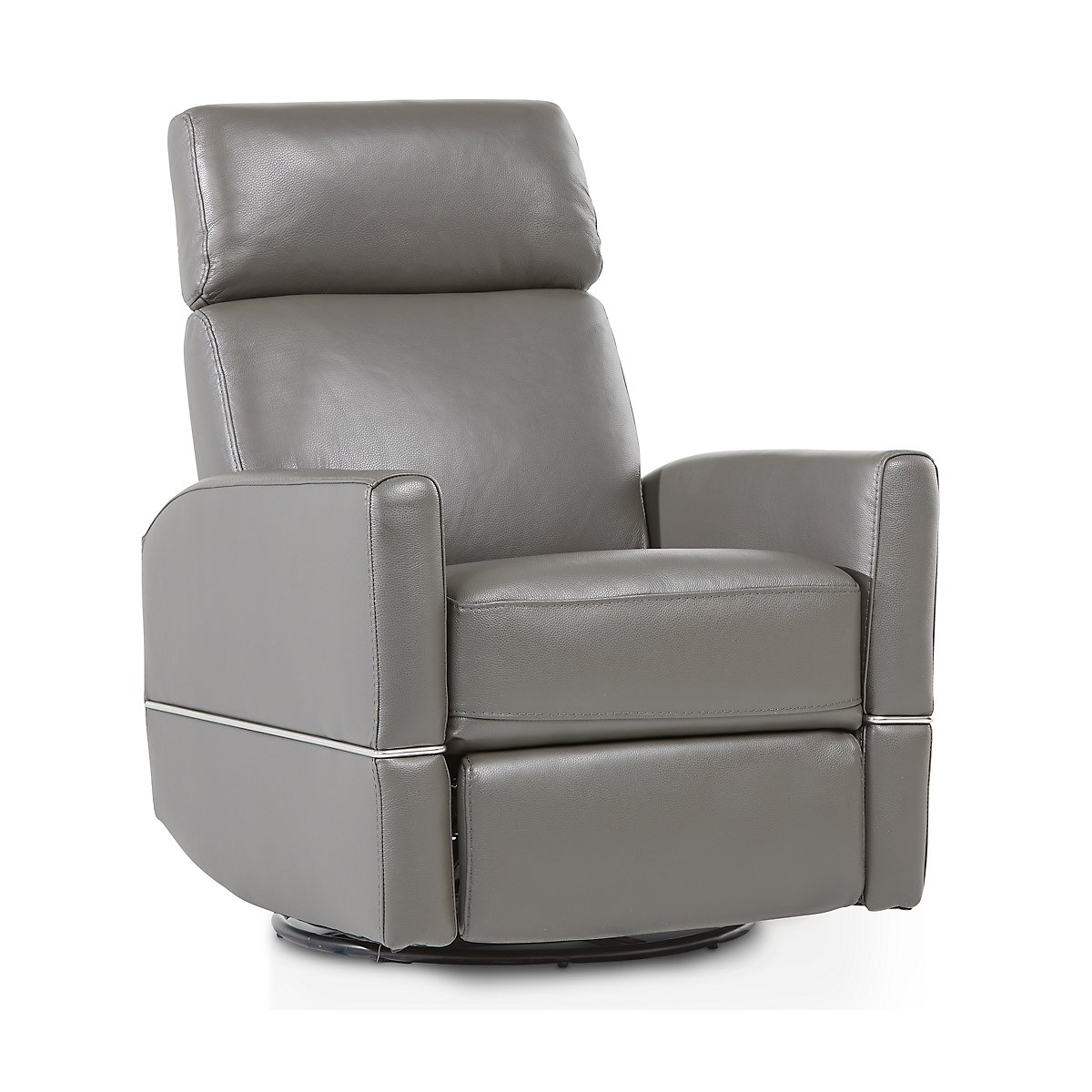 Cato Gray Leather Swivel Glider Recliner Living Room Recliners City Furniture