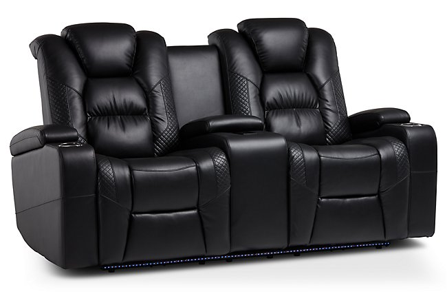 Troy Black Micro Power Reclining Console Loveseat
