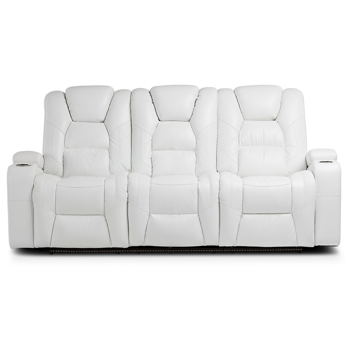 Troy White Microfiber Reclining Sofa Living Room Sofas City Furniture