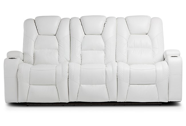 Enjoyable Pearson White Leather Power Reclining Sofa Living Room Gmtry Best Dining Table And Chair Ideas Images Gmtryco