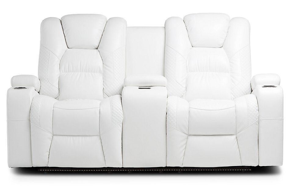 Troy White Micro Power Reclining Console Loveseat