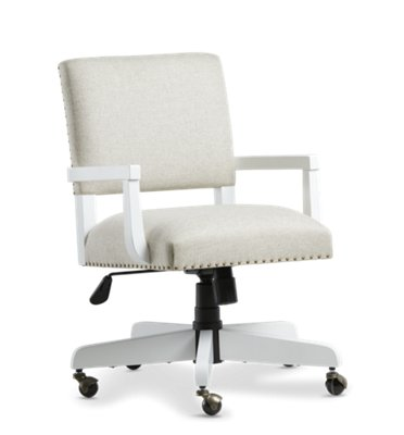 Newport Beige Wood Upholstered Desk Chair ...