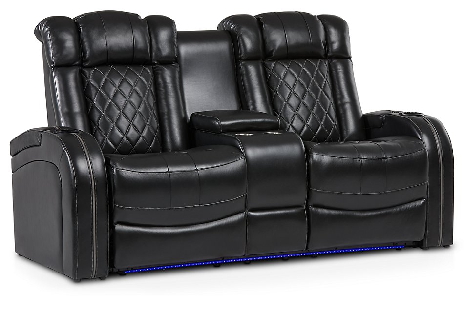 Peachy Bolton Black Leather Power Reclining Console Loveseat Forskolin Free Trial Chair Design Images Forskolin Free Trialorg