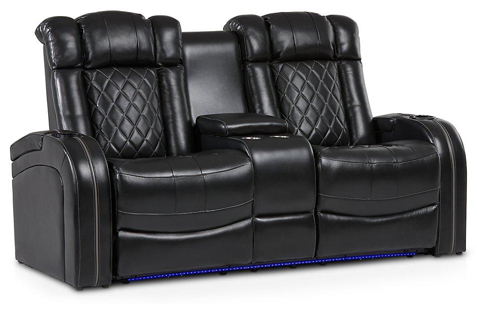 Awe Inspiring Bolton Black Leather Power Reclining Console Loveseat Machost Co Dining Chair Design Ideas Machostcouk