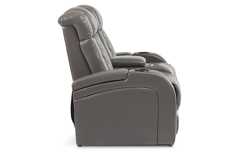 Bolton GRAY LEATHER Power Reclining Console Loveseat
