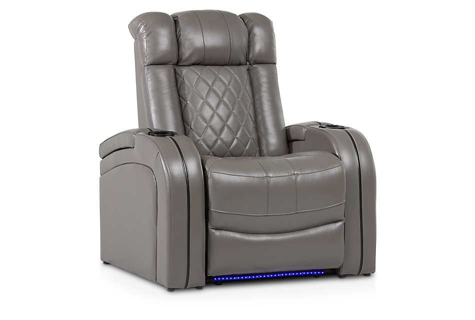 Bolton Gray Leather Power Recliner With Power Headrest
