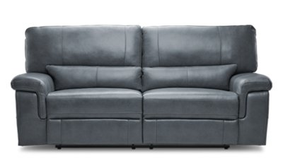 Weston Light Gray Leather U0026 Vinyl Power Reclining Sofa ...