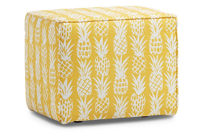 Pineapple Yellow Fabric Indoor/Outdoor Accent Ottoman