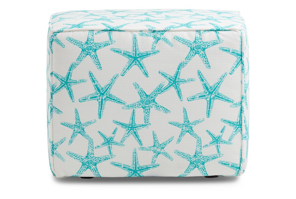 Sea Friends TEAL FABRIC Indoor/Outdoor Accent Ottoman