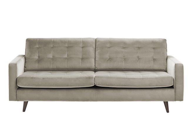 Mila Beige Velvet Sofa | Living Room - Sofas | City Furniture