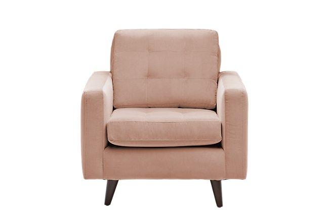 Mila Light Pink Velvet Chair | Living Room - Chairs | City ...