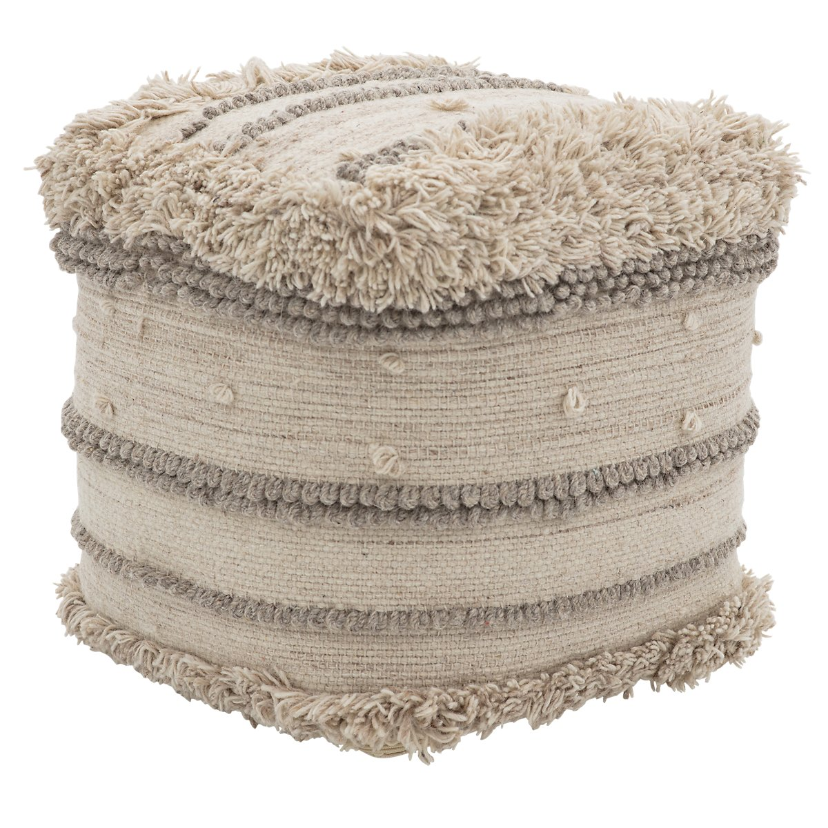 Sco Ivory Wool Accent Pouf Home Accents Ottomans City Furniture