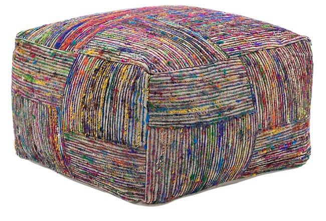 Silk Multicolored Accent Pouf