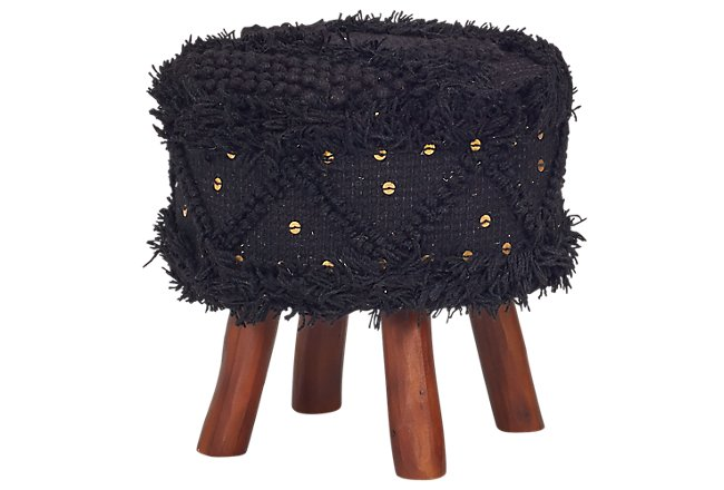 Roja Black Wool Stool