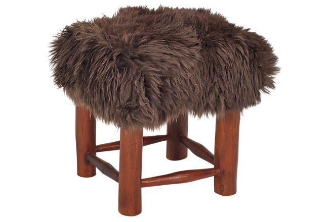 Nordic Brown Hide Stool