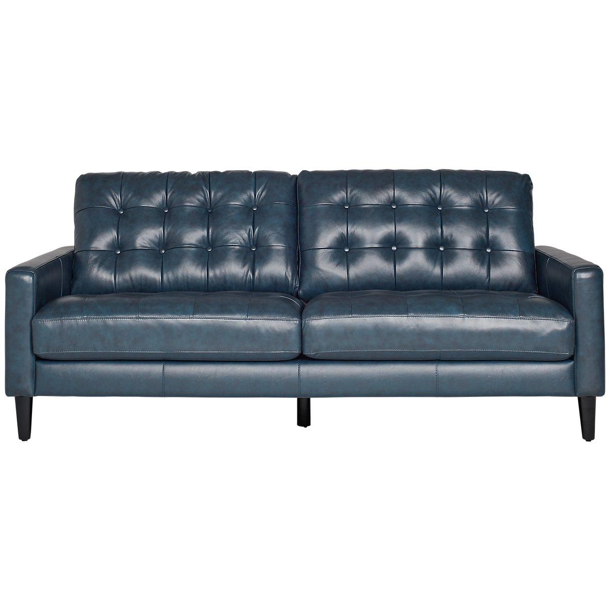 Finley Dark Blue Leather & Vinyl Sofa | Living Room - Sofas | City Furniture