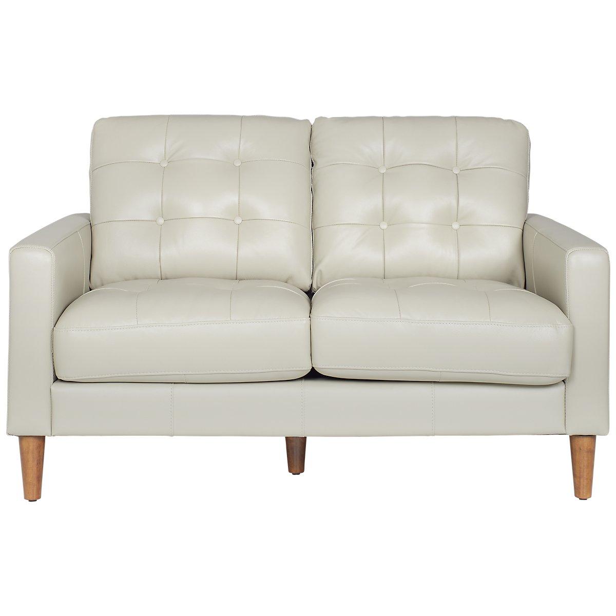 Finley Gray Leather & Vinyl Loveseat | Living Room - Loveseats | City Furniture