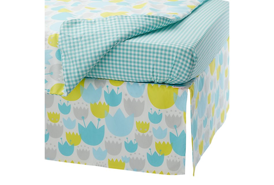 Tulip Light Blue  5 Piece Crib Bedding Set