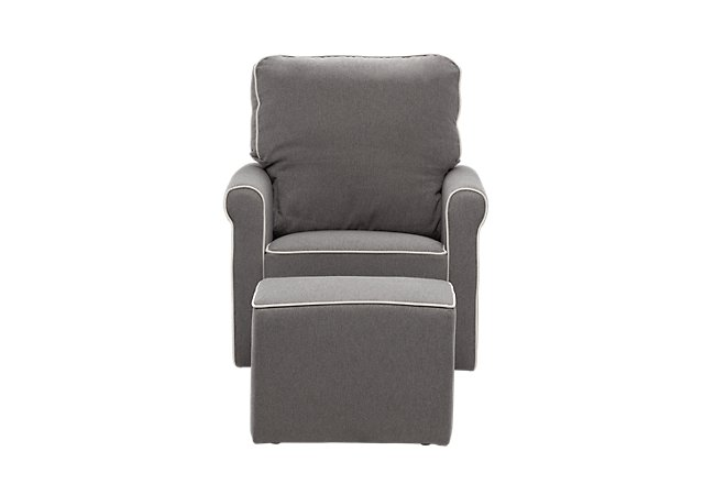 Maya Dark Gray Fabric Chair & Ottoman