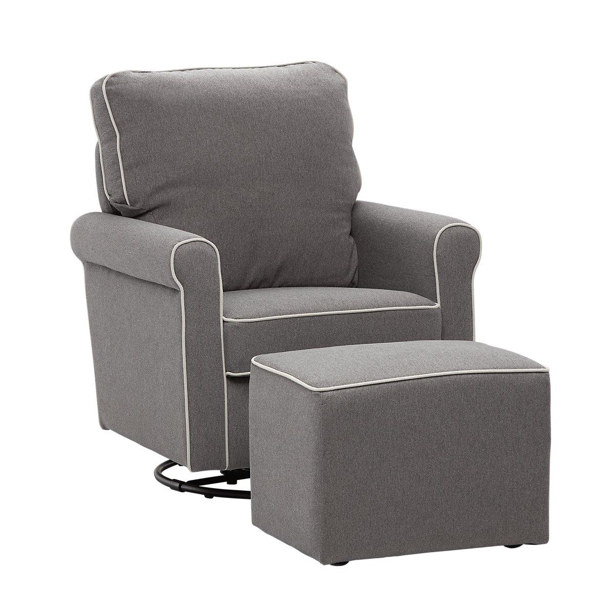 Maya Dark Gray Fabric Chair Ottoman