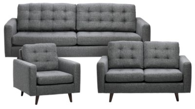 Gwen Dark Gray Fabric Living Room ...  sc 1 st  City Furniture : living room sets - amorenlinea.org
