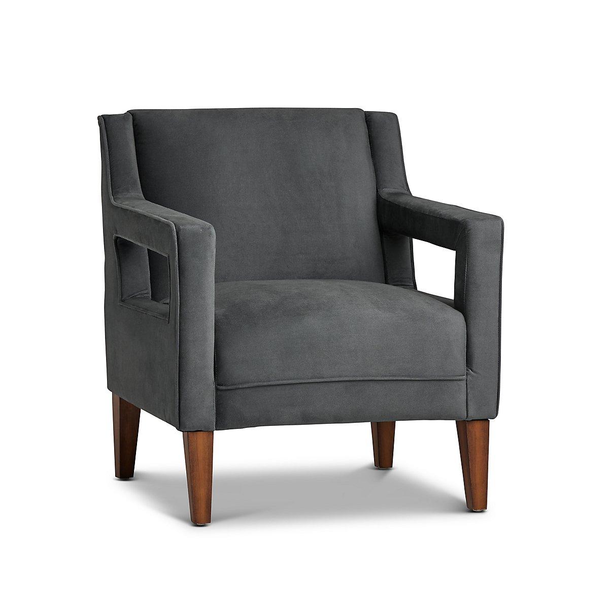 Dawson Dark Gray Velvet Accent Chair