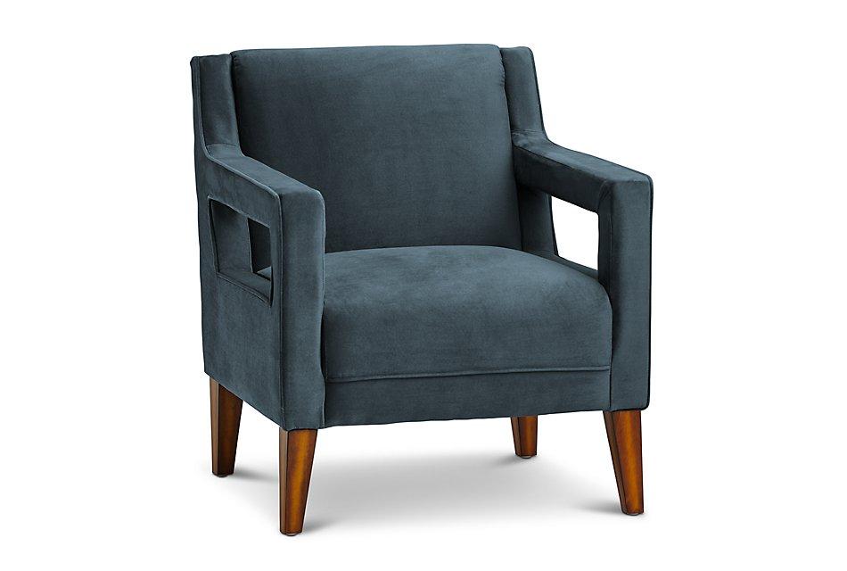 Dawson Dark Blue Velvet Accent Chair | Living Room - Accent ...
