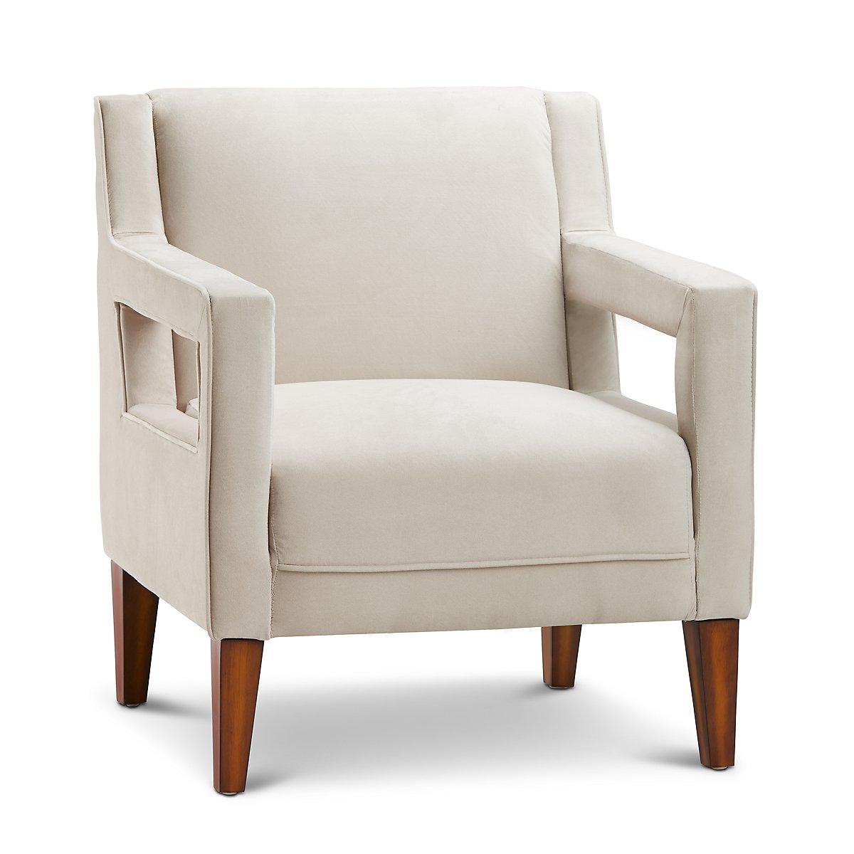 Dawson Light Beige Velvet Accent Chair | Living Room ...