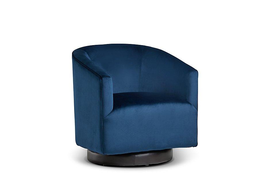 Charlotte Dark Blue Velvet Swivel Accent Chair | Sale ...